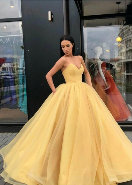 Plunging Sweetheart Puffy Yellow Ball Gown Prom Dresses