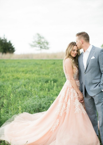 Pearls Lace Blush Wedding Dresses with Plunging V-neck
