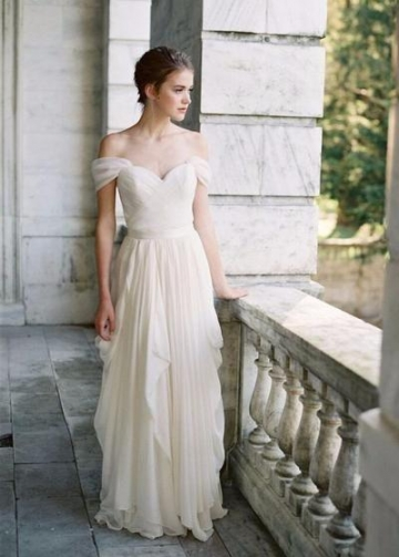 Pleated Off-the-shoulder Ivory Wedding Dress with Chiffon Skirt