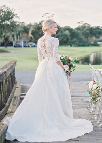 Pearls Lace Sleeves Wedding Dresses Photograph Shoot