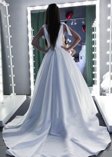 Pure White Satin Wedding Dress Illusion Plunging Neckline