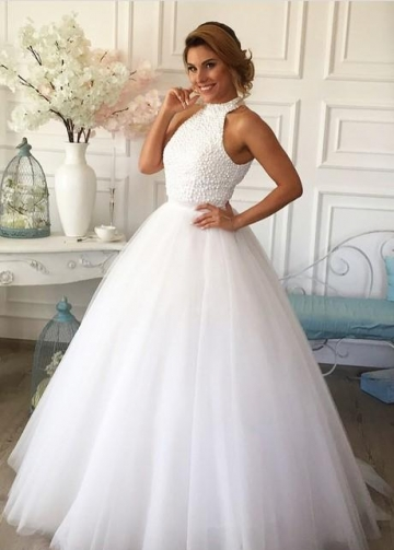 Pearls High Neck White Wedding Dress Tulle Skirt