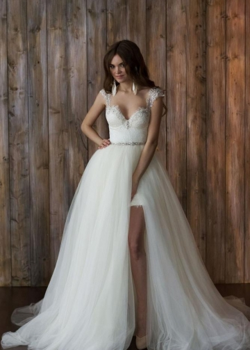 Queen Anne Beaded Lace Bridal Gown with Removable Tulle Skirt