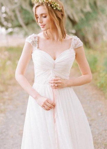 Queen Anne Neck Boho Style Chiffon Wedding Dress for Summer