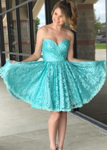 Ruched Sweetheart Lace Tiffany Blue Homecoming Dresses Short