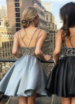 Rhinestones Bodice Satin Short Homecoming Party Gown with Double Straps
