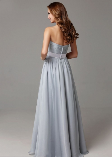 Ruched Sweetheart A-line Bridesmaid Gown Long vestido de dama de honra