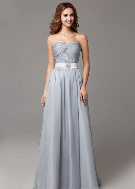Ruched Sweetheart A-line Bridesmaid Gown Long vestido de dama de honra