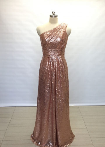 Ruched Rose Gold Sequin Bridesmaid Gown Single Shoulder