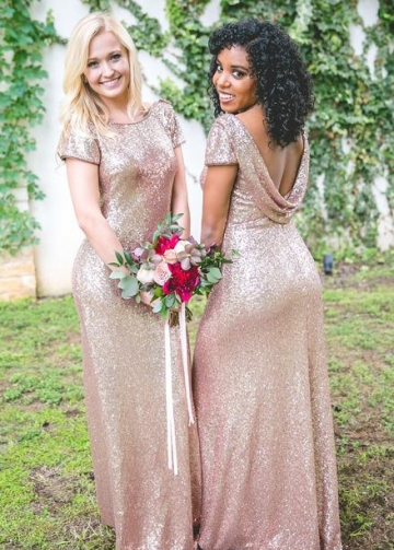 Rose Gold Sequin Bridesmaid Dress with Sleeves Metallic Dresses