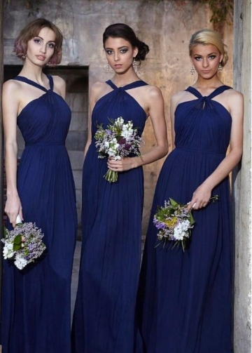 Ruching Orange Chiffon Bridesmaid Dresses with Halter Neckline