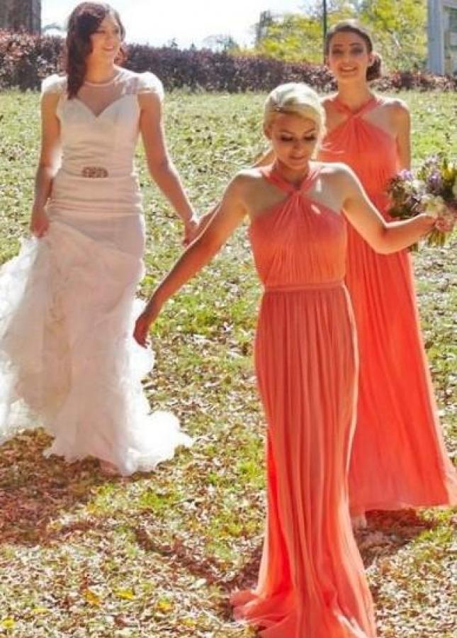 Ruching Orange Chiffon Bridesmaid Dresses with Halter Neckline