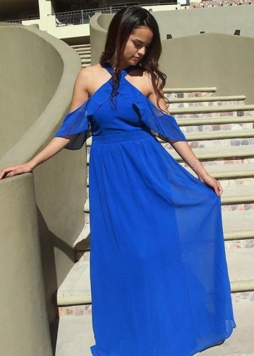 Royal Blue Plus Size Bridesmaid Gown with Flounced Off-the-shoulder