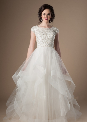 Ruffles Tulle Ivory Wedding Dress with Crystals Cap Sleeves