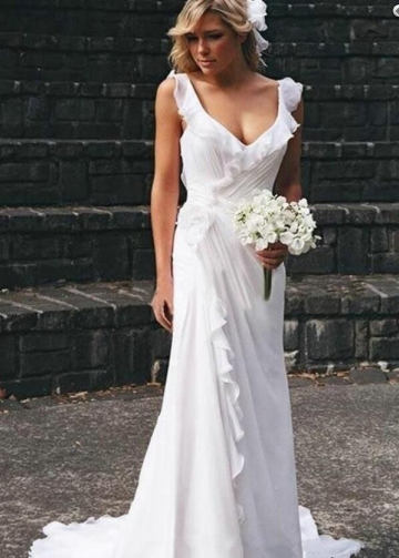 Ruffled Neckline White Chiffon Wedding Gown for Seaside