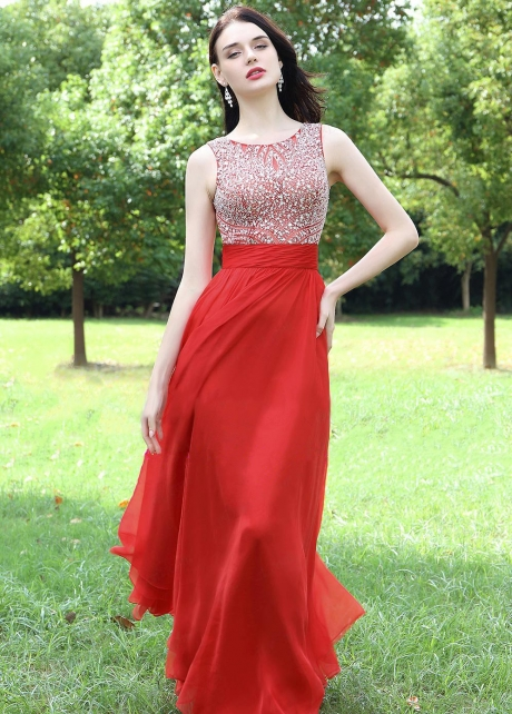 Round Neck Red Long Chiffon Rhinestones Prom Dresses