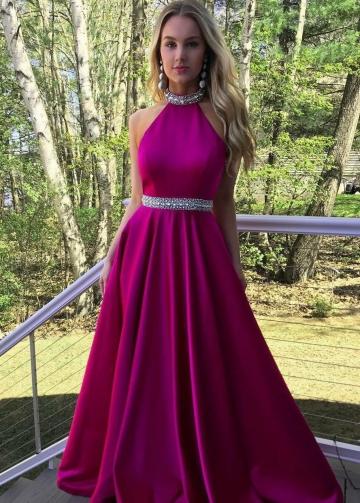 Rhinestones A-line Fuchisa Satin Long Prom Party Dresses