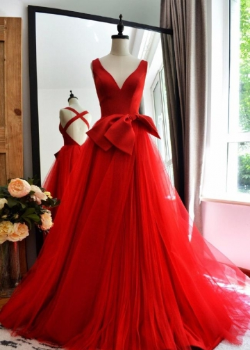 Red A-line Tulle V-neck Long Prom Gowns with Double Bows Sash