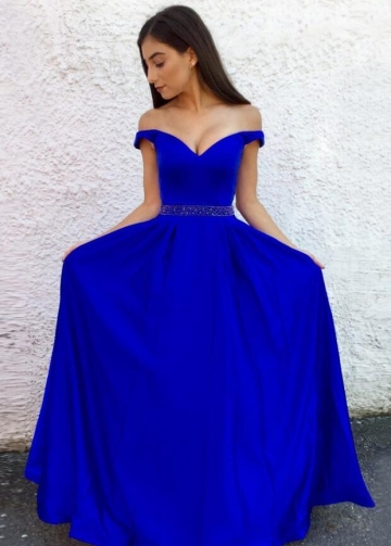 Royal Blue A-line Long Prom Dresses with Beaded Waistband