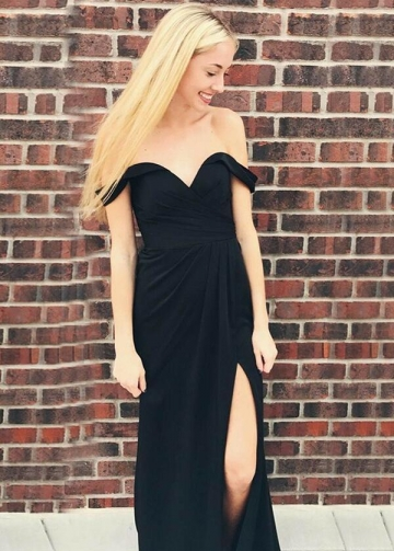 Ruched Sweetheart Slit Side Black Maxi Dresses for Prom