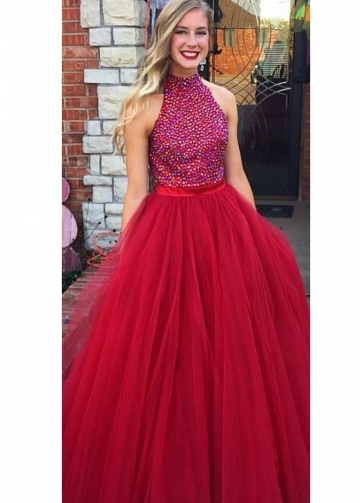 Rhinestones Bodice Sleeveless Red Formal Prom Gown with Tulle Skirt