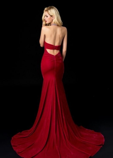 Red Velvet Mermaid Evening Dresses with Jewelry Neck