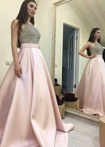 Rhinestones Halter Prom Dress with Satin Skirt