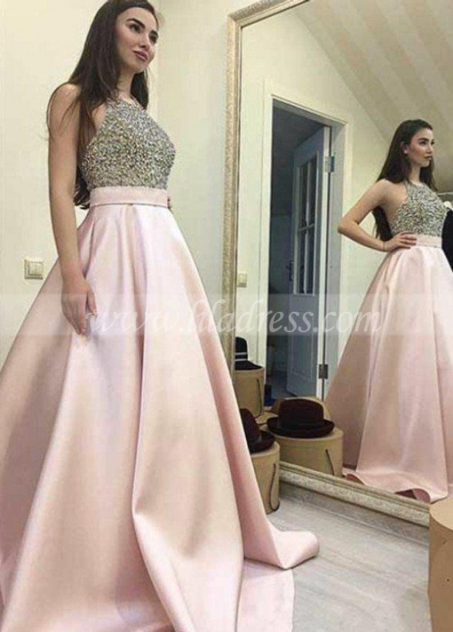 Rhinestones Halter Prom Dress with Satin Skirt
