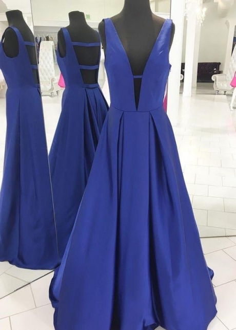 Royal Blue Satin Prom Gowns with Deep V-neckline