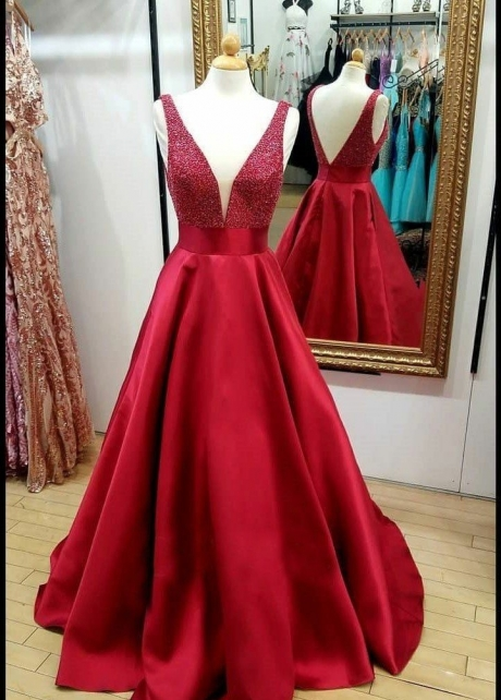 Red Satin Bead Evening Dresses with Plunging V-neckline