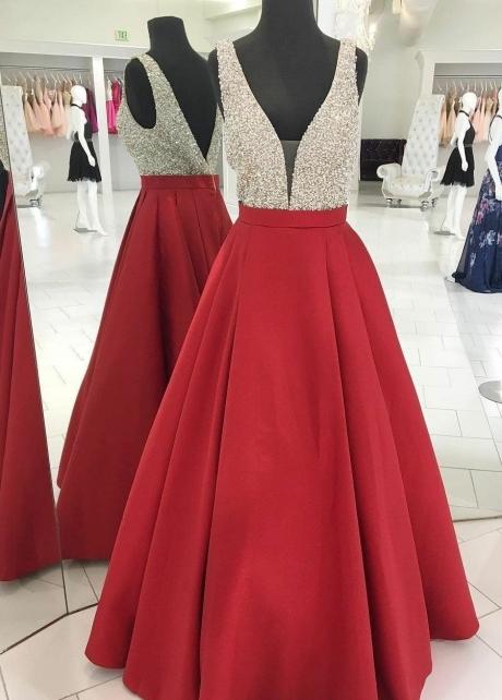 Red Satin Prom Gown Beaded V-neckline Bodice
