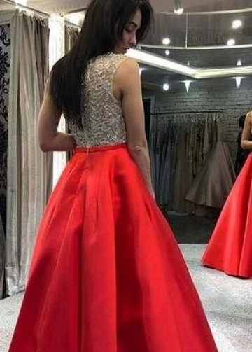 Red Satin Evening Prom Dresses with Sheer Crystals Bead Bodice