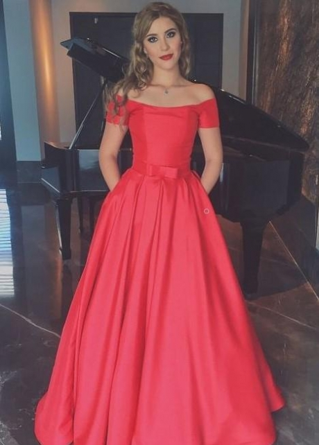 Red Satin Evening Dresses with Off-the-shoulder Sleeves