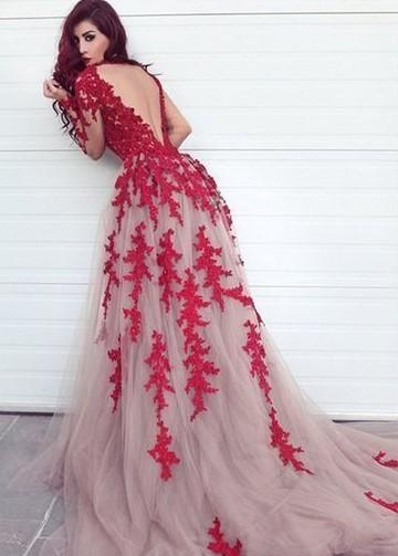 Red Appliques Lace Tulle Evening Dresses Long Sleeves