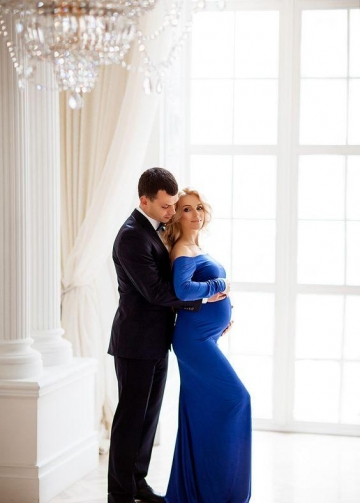 Royal Blue Maternity Photoshoot Dress Long Pregnancy Dresses with Sleeves