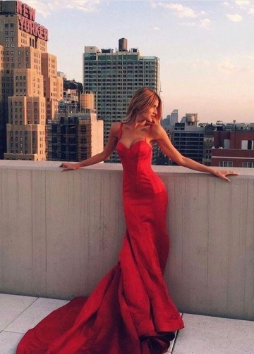 Red Satin Mermaid Evening Prom Dresses Online