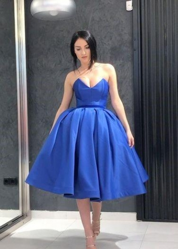 Royal Blue Short Prom Dress Plunging Neckline Ball Gown