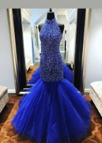 Royal Blue Rhinestones Prom Dress Mermaid Tulle Skirt
