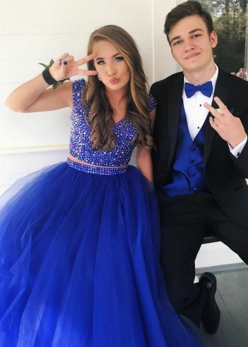 Rhinestones Two-piece Prom Gowns with Royal Blue Tulle Skirt