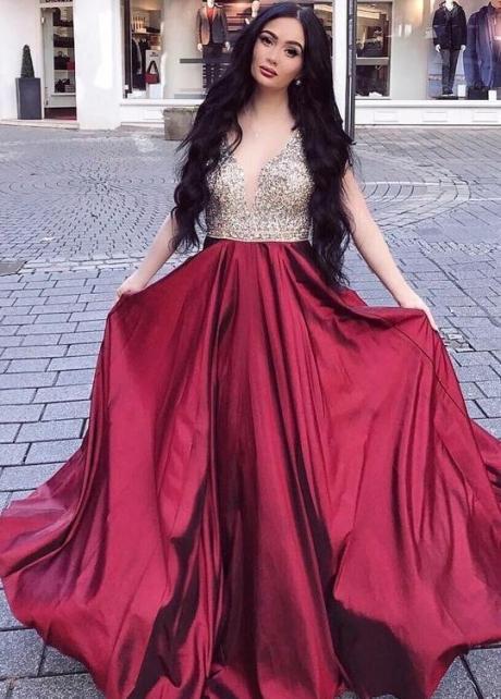 Rhinestones V-neckline Long Prom Gown Burgundy Skirt