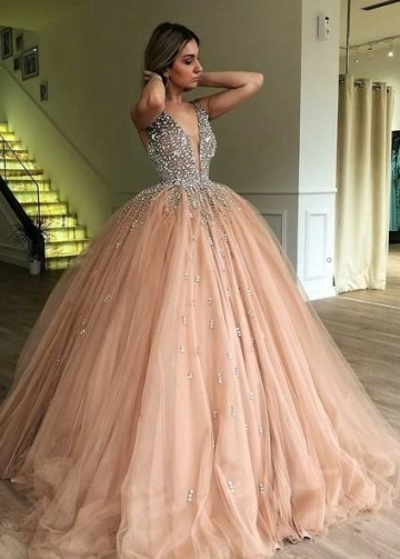 Rhinestones Champagne Ball Gown Prom Dress with Deep V-neckline