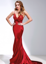 Red Lace Long Evening Gown with Fishtail Skirt vestido de fiesta