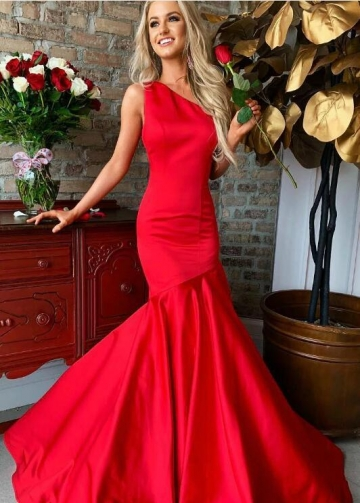 Red Mermaid Long Prom Gown One Shoulder Neckline
