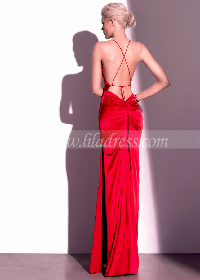 Cowl Neckline Burgundy Evening Dress with Straps Backless