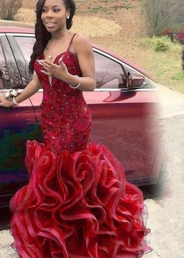 Red Lace Mermaid Style Prom Gown Ruffles Skirt vestido de fiesta de graduación