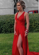 Red Maxi Long Dresses for Prom Party with Slit Side