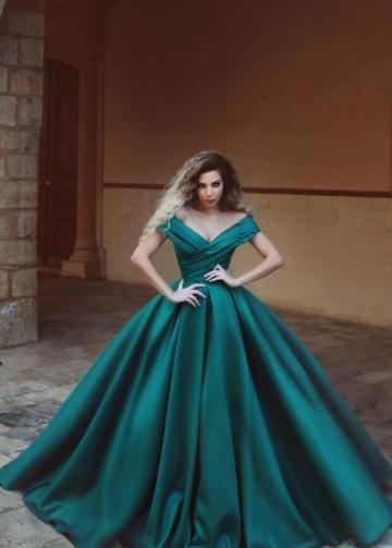 Ruched Off-the-shoulder Satin Prom Dresses Online