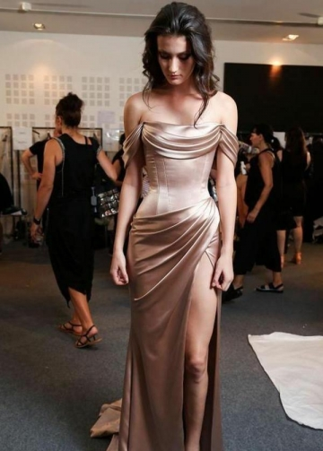 Runway Prom Dress with Ruching Off-the-shoulder