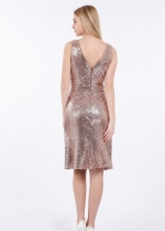 Rose Gold Sequin Short Bridesmaid Dress V-neckline
