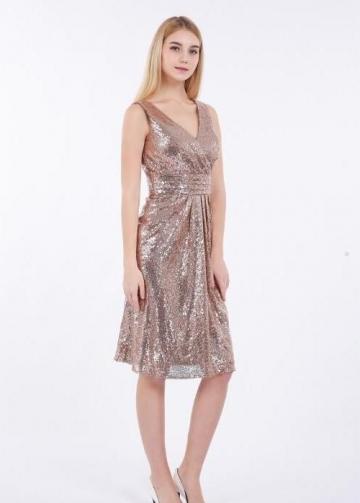 Rose Gold Sequin Short Bridesmaid Dress V-neckline